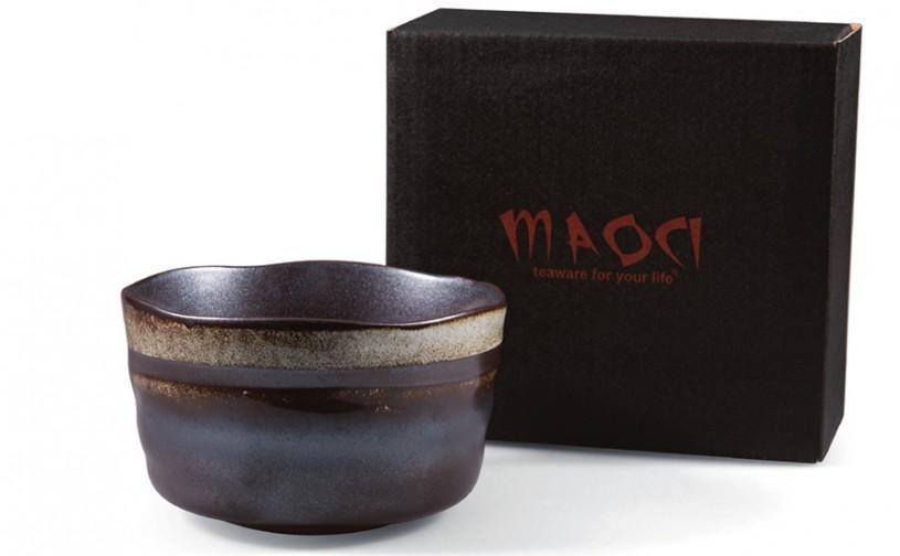 Matcha-Schale 400ml im Geschenkkarton, dunkel mit Streifen