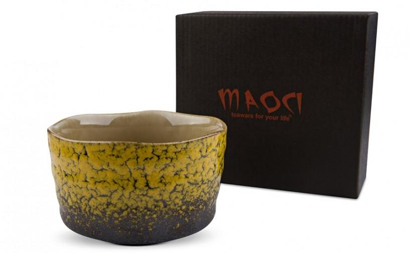 Matcha-Schale 400ml gelb, mit Geschenkkarton