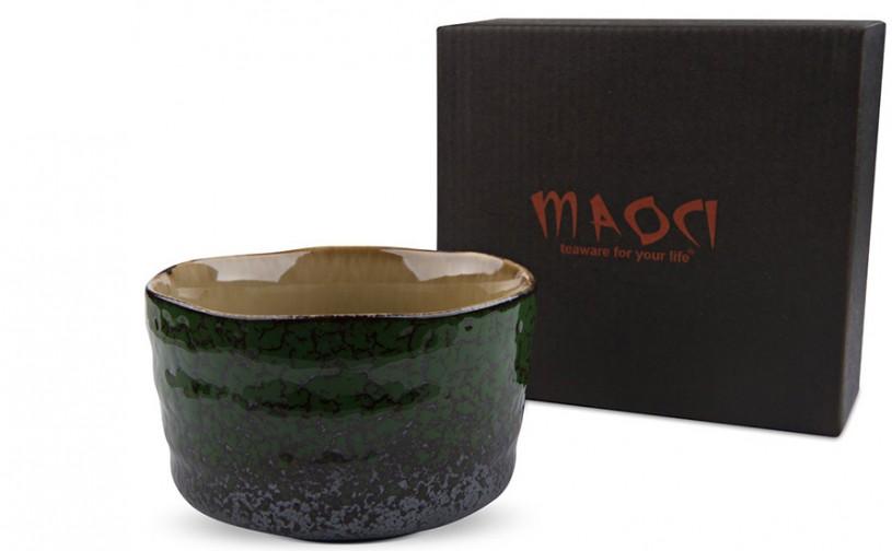 Matcha-Schale 400ml seitlich grünes Muster mit Karton