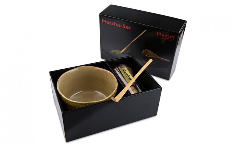 Matcha-Geschenkset mit 400ml Matcha Schale, Matchabesen, Matcha-Bambuslöffel im Karton, offen