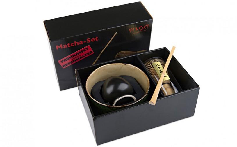Matcha-Set Premium von MAOCI, 400ml außen mit grünem Muster, offen