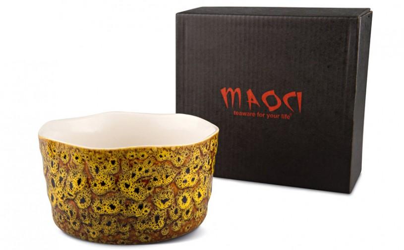Matcha-Schale 400ml seitlich bräunlich gelblich mit Verpackung