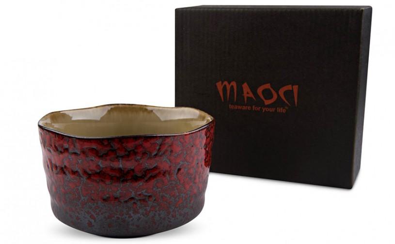 Matcha-Schale 400ml rotes Muster, mit Geschenkkarton