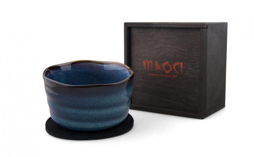 Matchaschale blau, 400ml mit Filzuntersetzer in Holzbox, schwarz