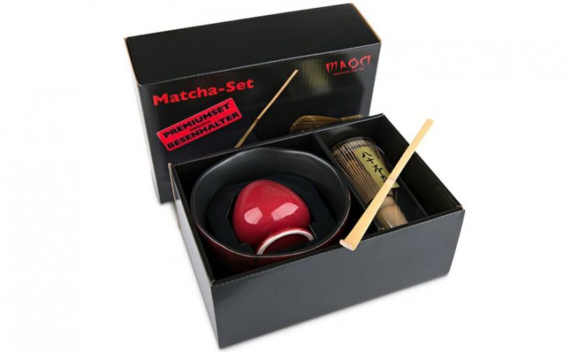 Matcha-Geschenkset Premium von MAOCI, dunkel-rötliche Schale im Hochglanz-Karton, offen