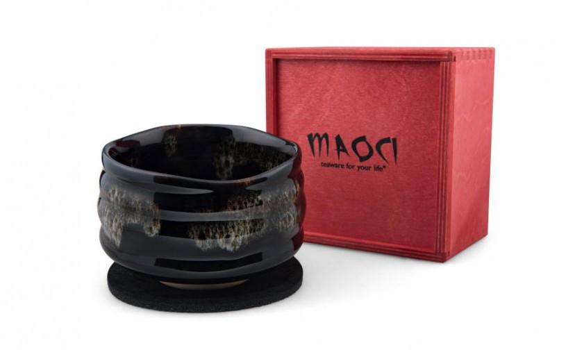 Matchaschale dunkel, grau-braunes Muster, 400ml, Filzuntersetzer in roter Holzbox