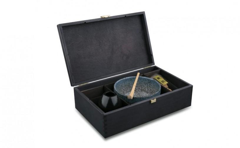 Matchaset Miyagi mit 400ml Schale, schwarze Holzbox, offen