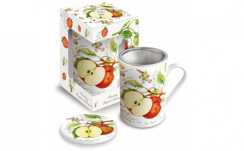 Porzellan Fine Bone China Teetasse mit Sieb 'Apfel'
