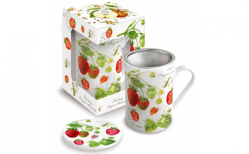 Porzellan Fine Bone China Teetasse mit Sieb 'Erdbeere'