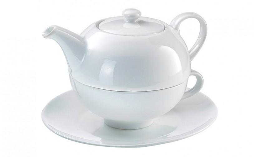 Porzellan Tea for one Set CLASSIC mit Sieb (3-teilig)