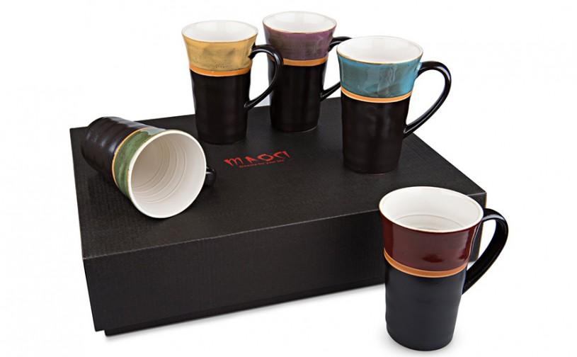 Fünf Keramik Teebecher, je 300ml Fassungsvermögen von MAOCI