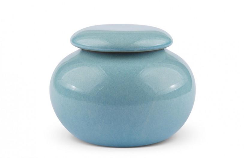 Porzellan Teedose, hellblau 210ml geschlossen