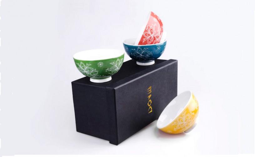 Porzellan Teeschalen Geschenkset (4 Schalen)