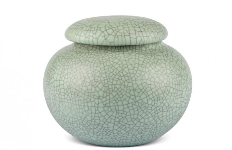 Porzellan Teedose hellgrün gesprenkelt, 440ml