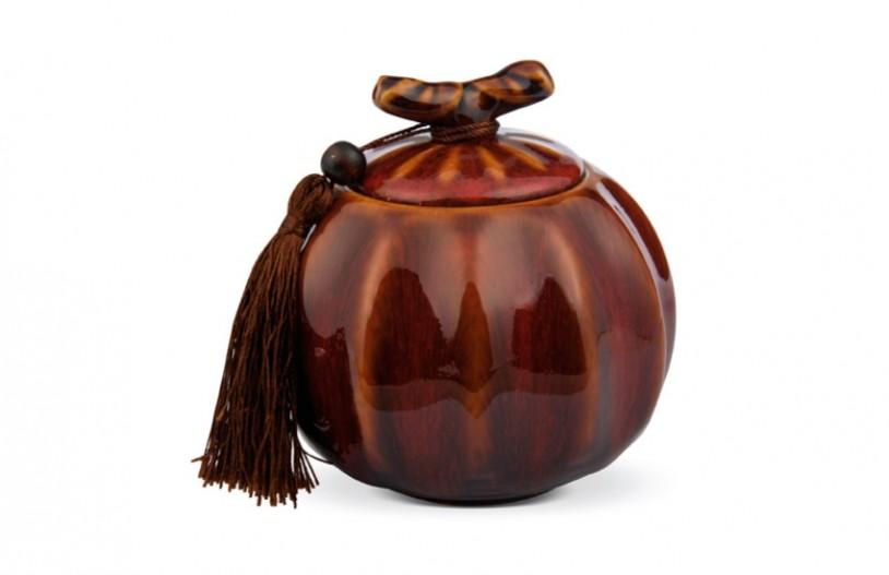 Porzellan Teedose rot-braun, 500ml