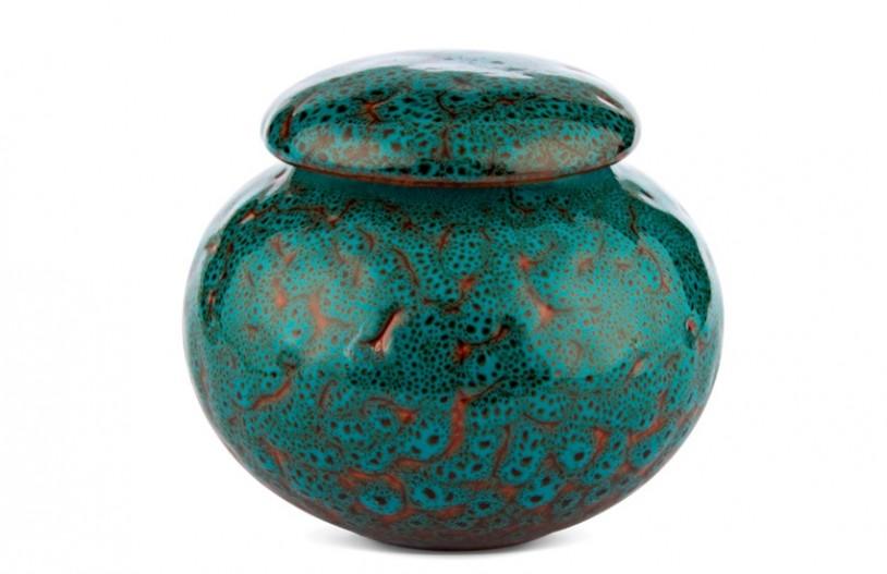 Porzellan Teedose türkis gemustert, 440,ml