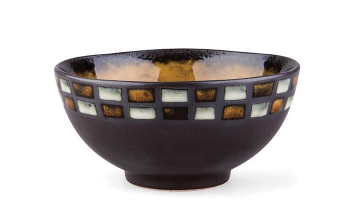 Tee-Schale 200ml - dunkel, Rechtecksmuster
