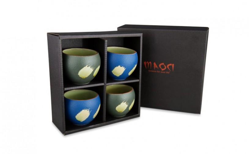 Prozellan Teacups / Teebecher Geschenkset (grün/blau)