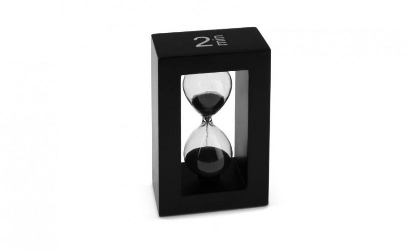 Teatimer / Sanduhr, 2 Min., schwarzer Rahmen, schwarzer Sand