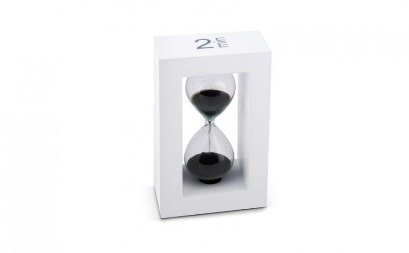 Teatimer / Sanduhr, 2 Min., weißer Rahmen, schwarzer Sand