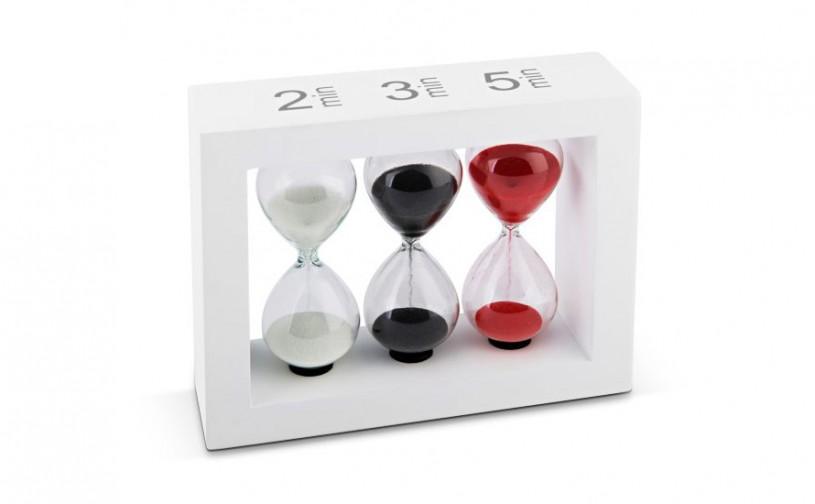 Teatimer / Sanduhr, 2 Min., 3 Min. & 5 Min, weißer Rahmen