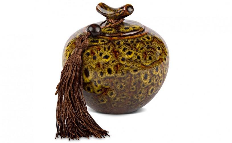 Porzellan Teedose, gelb-braun bemustert 300ml geschlossen