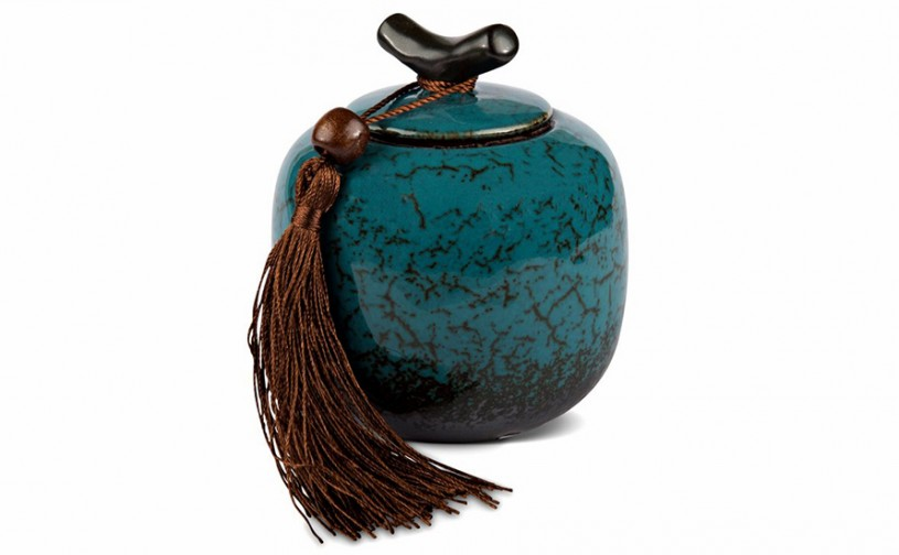 Porzellan Teedose, blau 200ml geschlossen