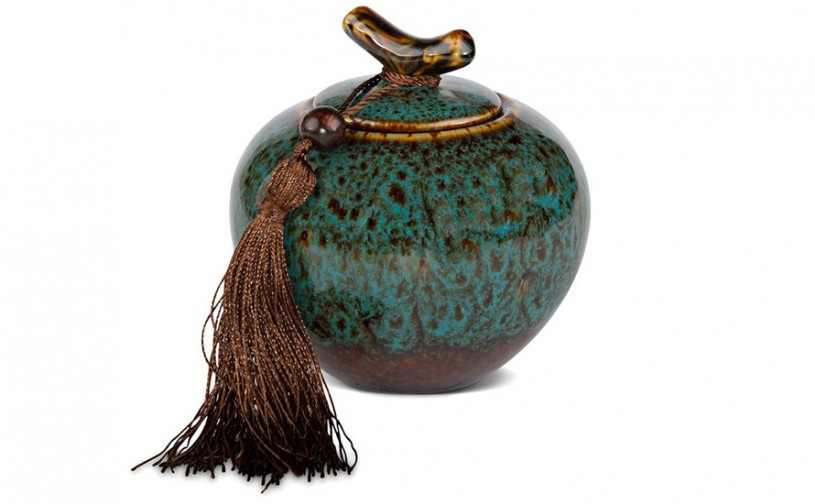 Porzellan Teedose, blau bemustert 300ml geschlossen