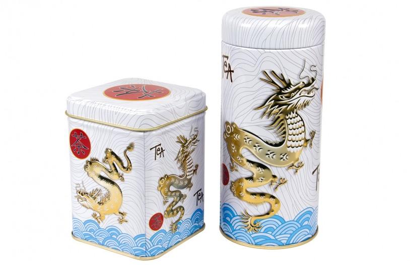 Teedosen 'Dragon' eckig und rund