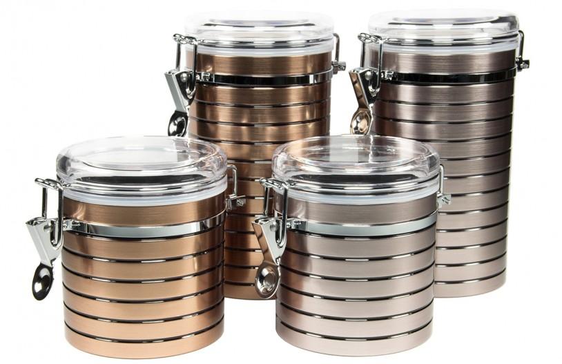 Teedosen 'Hasine' 150g und 250g, bronze- und platinfarben (2er Set)