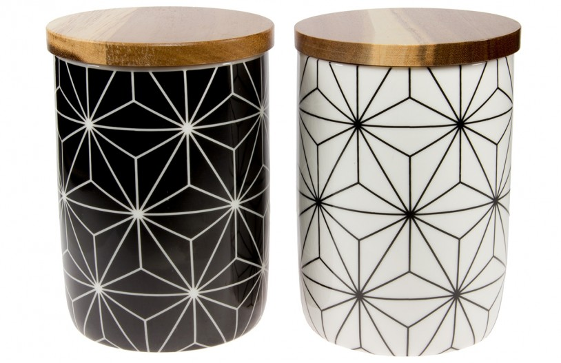 Teedosen 'Kaleidoskop', 200g, schwarz und weiß