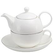 Porzellan Fine Bone China Tea for One 'Platin' (500ml, 3tlg.)