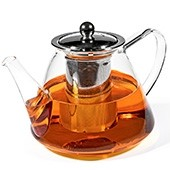 Glaskanne mit Edelstahlsieb, 1200ml mit Tee gefüllt
