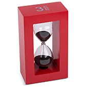 Teatimer / Sanduhr, 3 Min., roter Rahmen, schwarzer Sand