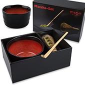 Matcha Geschenk-Set mit Matchaschale, offene Box, Hochglanz-Karton