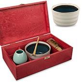 Matcha Geschenkset 'Ima', offene rote Holzbox