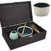 Matcha Geschenkset 'Ima', offene schwarze Holzbox