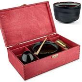 Matcha Geschenkset Hakashi, in roter Holzbox