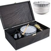 Matcha Geschenk-Set Hino in schwarzer Holz-Geschenkbox