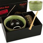 Matcha-Set Premium von MAOCI, 400ml außen hellgrün, offen
