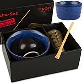 Matcha-Set Premium von MAOCI, 400ml außen blau, offen