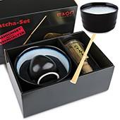 Matcha-Geschenkset Premium von MAOCI, dunkle Schale innen hell. Im Hochglanz-Karton, offen