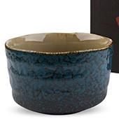 Matcha-Schale 400ml seitlich blaues Muster mit Karton