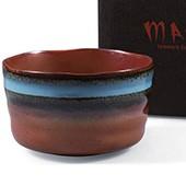 Matcha-Schale 400ml im Geschenkkarton, braun mit blauem Rand