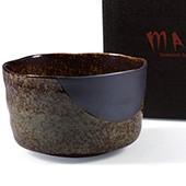 Matcha-Schale 400ml im Geschenkkarton, braun marmoriert