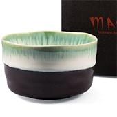 Matcha-Schale 400ml im Geschenkkarton, dunkel mit hell grünlichem Rand
