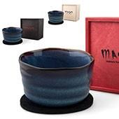 Matchaschale blau, 400ml mit Filzuntersetzer in Holzbox, schwarz, rot, natur