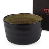 Matcha-Schale 400ml dunkel, grünlich-braun, mit Karton