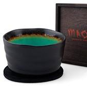 Matchaschale schwarz-grün, 400ml mit Filzuntersetzer in Holzbox, schwarz