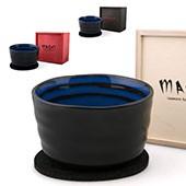 Matchaschale schwarz-blau, 400ml mit Filzuntersetzer in Holzbox, schwarz, rot, natur